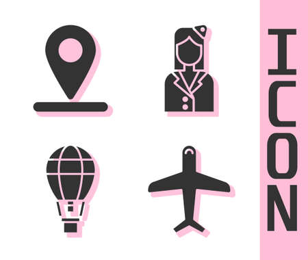 Set Plane, Location, Hot air balloon and Stewardess icon. Vector