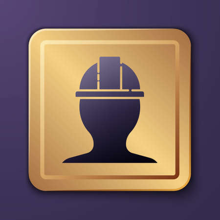 Purple Worker safety helmet icon isolated on purple background. Gold square button. Vector Illustration