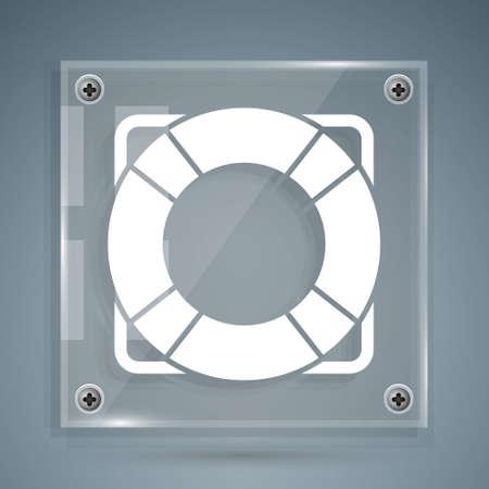 White Lifebuoy icon isolated on grey background. Lifebelt symbol. Square glass panels. Vector Illustration Ilustracja