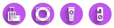 Set Suitcase, Lifebuoy, Sunscreen cream in tube and Please do not disturb icon with long shadow. Vector