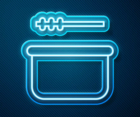 Glowing neon line Sauna bucket and ladle icon isolated on blue background. Vector Illustration Stock Illustratie