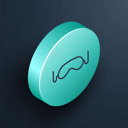 Isometric line Eye sleep mask icon isolated on black background. Turquoise circle button. Vector Illustration