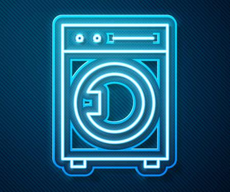 Glowing neon line Washer icon isolated on blue background. Washing machine icon. Clothes washer - laundry machine. Home appliance symbol. Vector Illustration Ilustrace