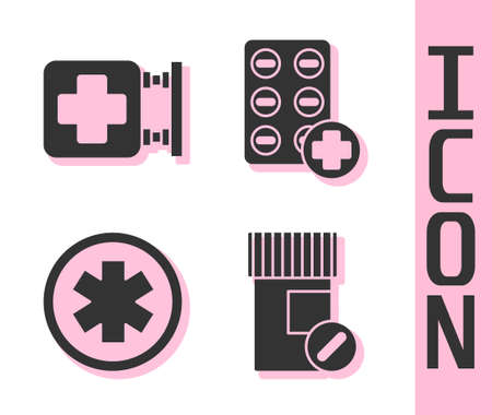 Set Medicine bottle and pills, Hospital signboard, Medical symbol of the Emergency and Pills in blister pack icon. Vector
