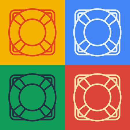 Pop art line Lifebuoy icon isolated on color background. Lifebelt symbol. Vector Illustration