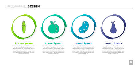 Set Corn, Peach fruit, Potato and Pear. Business infographic template. Vector
