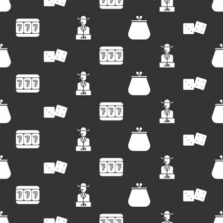 Set Wallet, Game dice, Slot machine with lucky sevens and Poker player on seamless pattern. Vector Stock Illustratie