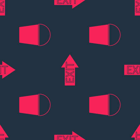 Set Fire bucket and Fire exit on seamless pattern. Vector Stock Illustratie