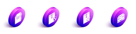 Set Isometric Document and pen, Envelope with shield, Envelope and Laptop with envelope icon. Vector