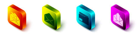 Set Isometric Envelope, Envelope, Document folder and Outgoing mail icon. Vector