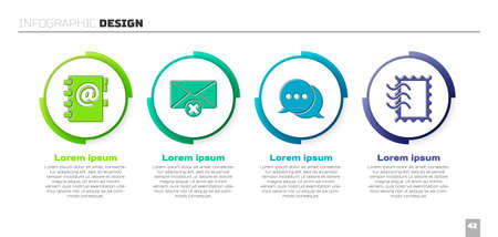 Set Address book, Delete envelope, Speech bubble chat and Postal stamp. Business infographic template. Vector Vectores