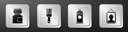 Set Paint, gouache, jar, dye, Paint brush, Paint spray can and Picture icon. Silver square button. Vector Vettoriali