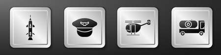 Set Rocket, Pilot hat, Helicopter and Fuel tanker truck icon. Silver square button. Vector
