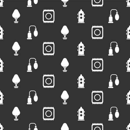 Set Condom, Penis pump, Anal plug and Condom in package safe on seamless pattern. Vector