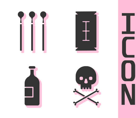Set Skull on crossbones, Matches, Alcohol drink bottle and Blade razor icon. Vector