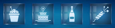 Set Cake, Cake with burning candles, Champagne bottle and Firework rocket. Square glass panels. Vector Vettoriali