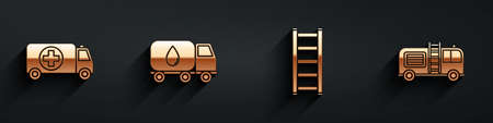 Set Ambulance and emergency car, Water delivery truck, Fire escape and Fire truck icon with long shadow. Vector