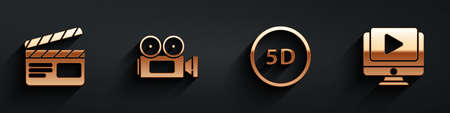 Set Movie clapper, Cinema camera, 5d virtual reality and Online play video icon with long shadow. Vector