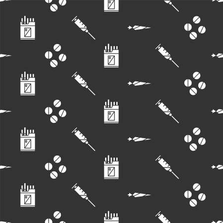 Set Marijuana joint, Medicine pill or tablet, Open cigarettes pack box and Syringe on seamless pattern. Vector