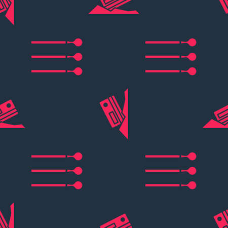 Set Matches and Cocaine and credit card on seamless pattern. Vector