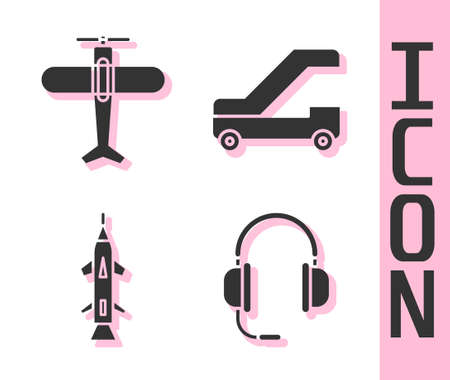 Set Headphones with microphone, Plane, Rocket and Passenger ladder for plane boarding icon. Vector