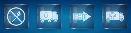 Set No fire match, Water delivery truck, Fire exit and Ambulance and emergency car. Square glass panels. Vector