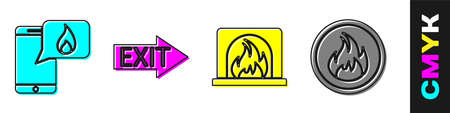 Set Phone with emergency call 911, Fire exit, Interior fireplace and Fire flame icon. Vector Stock Illustratie
