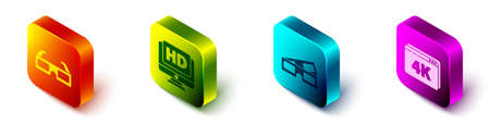 Set Isometric 3D cinema glasses, Monitor with HD video, 3D cinema glasses and Online play video with 4k icon. Vector