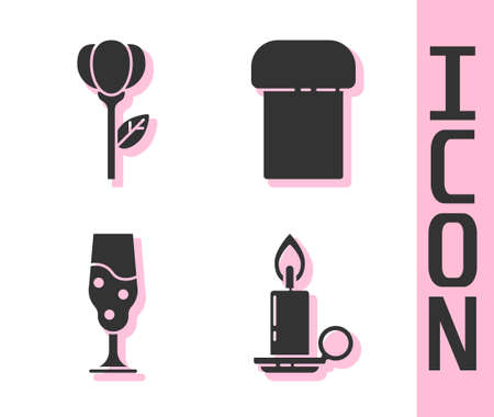 Set Burning candle in candlestick, Flower tulip, Wine glass and Easter cake icon. Vector Vettoriali