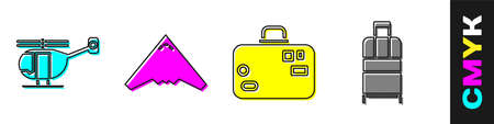 Set Helicopter, Jet fighter, Suitcase and Suitcase icon. Vector Vettoriali