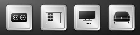 Set Electrical outlet, Office desk, Smart Tv and Sofa icon. Silver square button. Vector Vettoriali