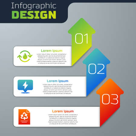 Set Recycle clean aqua, Lightning bolt and Paper with recycle. Business infographic template. Vector
