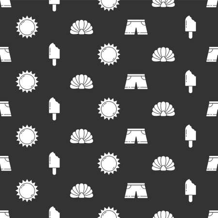 Set Swimming trunks, Ice cream, Sun and Scallop sea shell on seamless pattern. Vector Vettoriali
