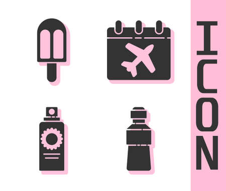 Set Bottle of water, Ice cream, Sunscreen spray bottle and Calendar and airplane icon. Vector