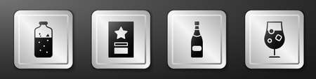 Set Mulled wine, Greeting card, Champagne bottle and Cocktail and alcohol drink icon. Silver square button. Vector