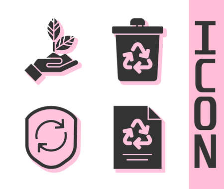 Set Paper with recycle, Plant in hand, Recycle symbol inside shield and Recycle bin with recycle icon. Vector