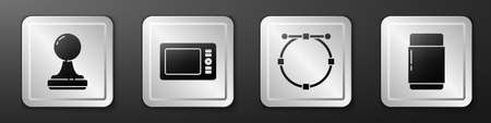 Set Stamp, Graphic tablet, Circle with Bezier curve and Eraser or rubber icon. Silver square button. Vector