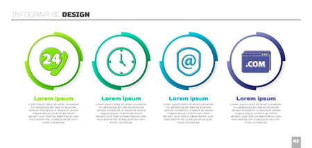 Set Telephone 24 hours support, Clock, Shield with mail and e-mail and Website template. Business infographic template. Vector