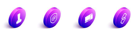 Set Isometric Stamp, Shield with mail and e-mail, Monitor and phone and Chain link icon. Vector