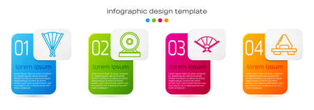 Set line Paper chinese folding fan, Gong, Paper chinese folding fan and Sushi on cutting board. Business infographic template. Vector