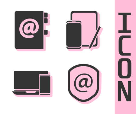 Set Shield with mail and e-mail, Address book, Monitor and phone and Phone and graphic tablet icon. Vector