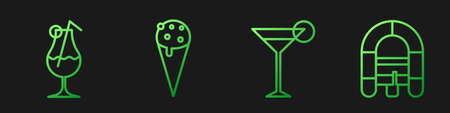 Set line Martini glass, Cocktail and alcohol drink, Ice cream in waffle cone and Rafting boat. Gradient color icons. Vector
