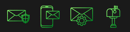 Set line Envelope setting, Envelope with shield, Mobile and envelope and Mail box. Gradient color icons. Vector