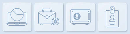 Set line Laptop with graph chart, Safe, Briefcase and money and Identification badge. White square button. Vector