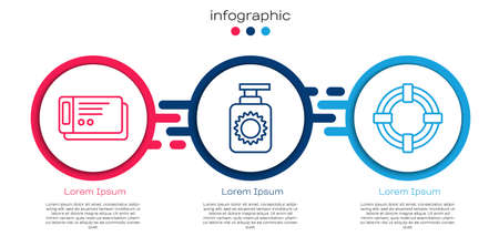 Set line Travel ticket, Sunscreen spray bottle and Lifebuoy. Business infographic template. Vector