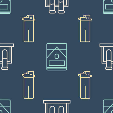 Set line Test tube and flask, Lighter and Cigarettes pack box on seamless pattern. Vector