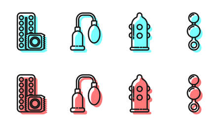 Set line Condom, Birth control pills and condom, Penis pump and Anal beads icon. Vector