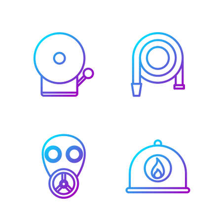 Set line Firefighter helmet, Gas mask, Ringing alarm bell and Fire hose reel. Gradient color icons. Vector