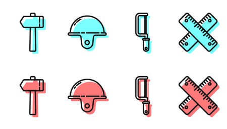 Set line Hacksaw, Hammer, Worker safety helmet and Crossed ruler icon. Vector