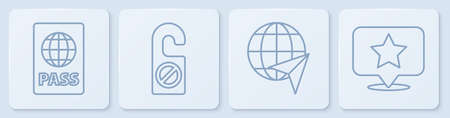 Set line Passport, Globe with flying plane, Please do not disturb and Map pointer with star. White square button. Vector